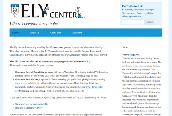 Screenshot: elycenter.com