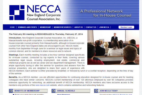 Screenshot: necca.com