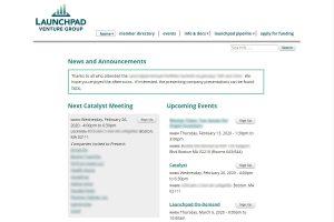 Launchpad Venture Group member site screenshot