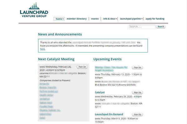 Launchpad Venture Group member site screenshot