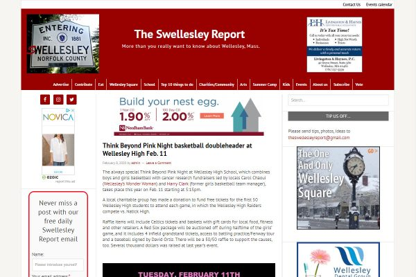 TheSwellesleyReport.com screenshot